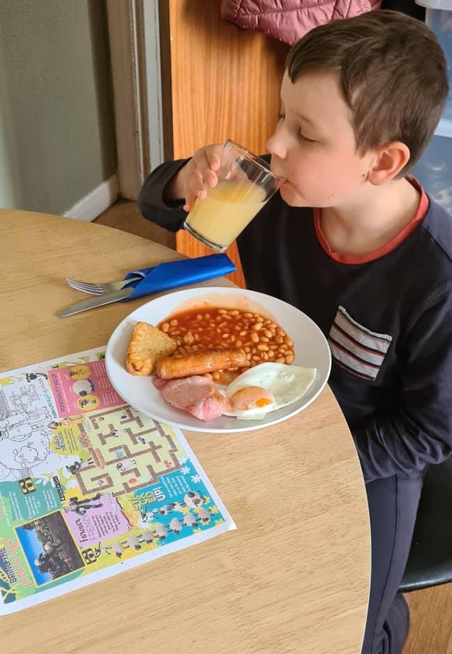 Josh enjoying his breakfast. Credit: Jam Press