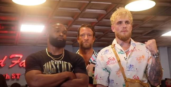 Jake Paul v Tyron Woodley media face off (Credit: Youtube/Jake Paul)