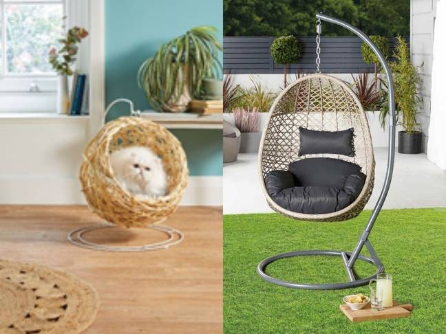 Aldi sells hanging egg chairs for cats and humans ' Credit: Aldi