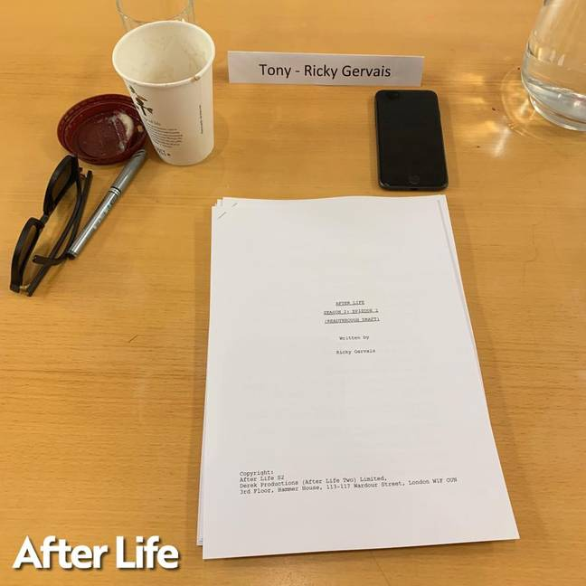 Ricky Gervais has shared pictures from the first read through of After Life season 2. Credit: Ricky Gervais