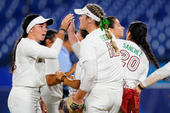 The Mexican softball team at the Tokyo Olympics. Credit: PA