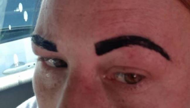 This is what Colline was left with after having her eyebrows tinted. Credit: Triangle News