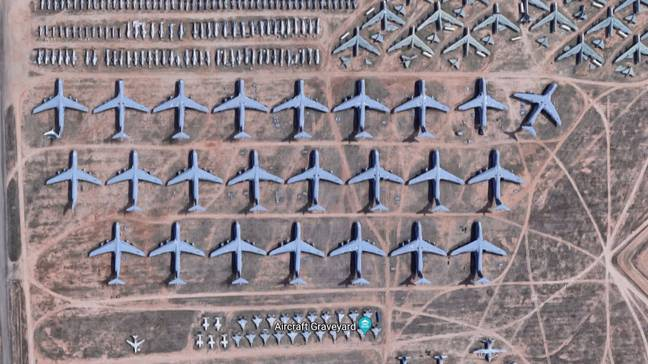 Google Maps Shows Mysterious 'Aircraft Graveyard' Of Abandoned Planes. Credit: Google Maps