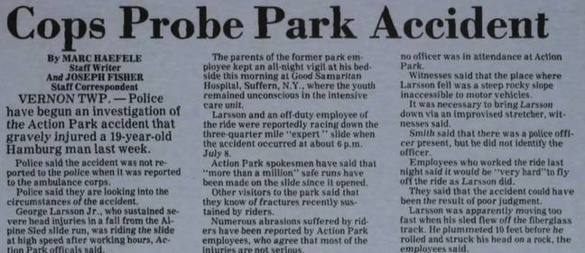 The first fatality at the park was a 19-year-old man. Credit: Class Action Park