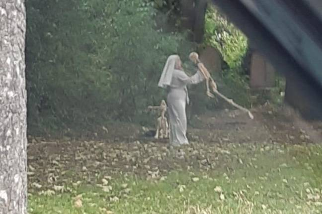 I for one hope the nun is for real but the skeleton isn't. Credit: MEN Media