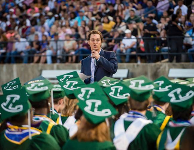 Actor and 1988 Longview High School graduate Matthew McConaughey delivers the commencement speech at the school's graduation ceremony. Credit: PA
