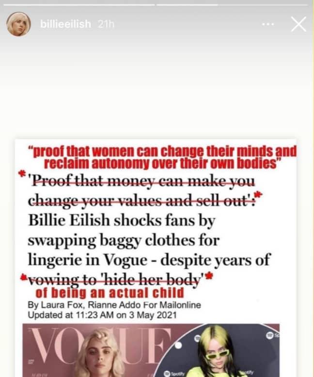 Credit: Instagram/Billie Eilish