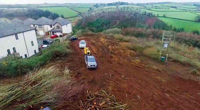 Locals say developer Holloway had not applied for planning permission when the trees were cut down. Credit: SWNS