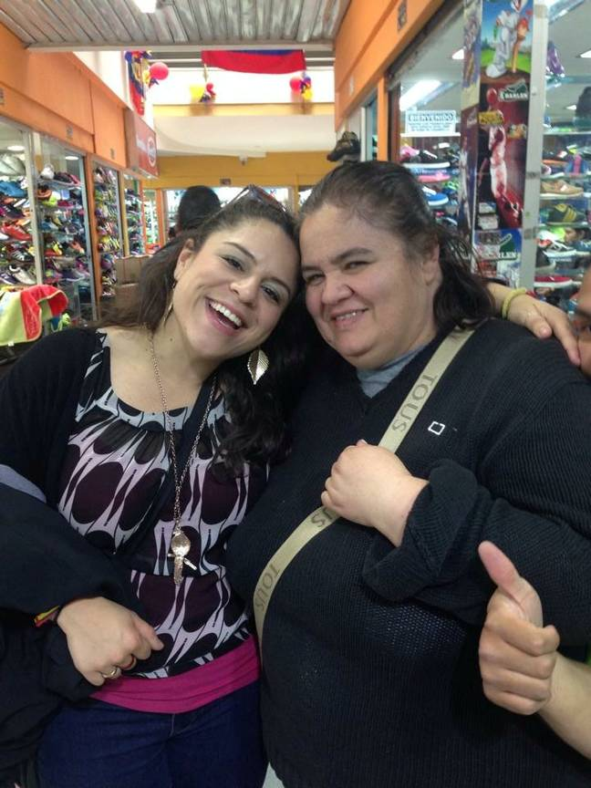Mariela with her biological mother Maria Sanchez. Credit: SWNS
