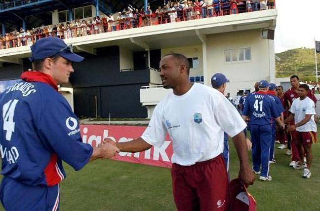 England batsman Andrew Strauss shakes hands with West Indian captain Brian Lara in 2004. Credit: PA