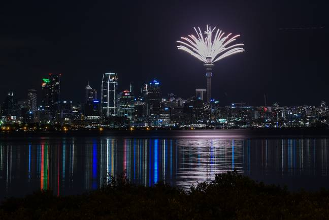 A firework display at Auckland Harbour Bridge attracted huge crowds. Credit: PA