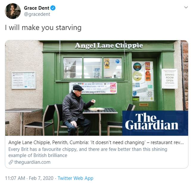 Angel Lane Chippie in Penrith is one of the best in the country. Credit: Twitter/Grace Dent