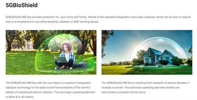 Here's the BioShield website. Credit: 5G BioShield