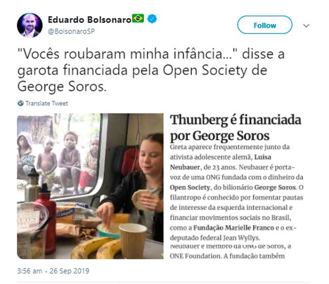 The tweet from Eduardo Bolsonaro. Credit: CEN