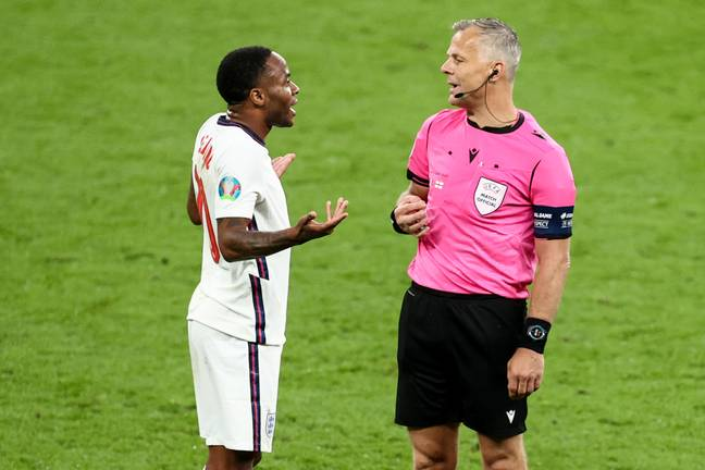 Raheem Sterling pleads with the referee. Credit: PA