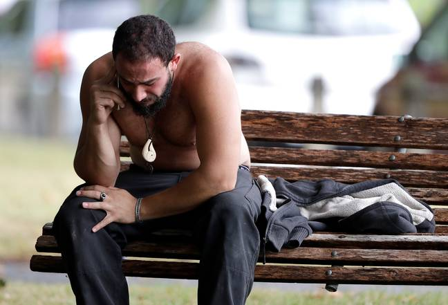 A man reacts to the sickening attack near a mosque in Christchurch. Credit: PA