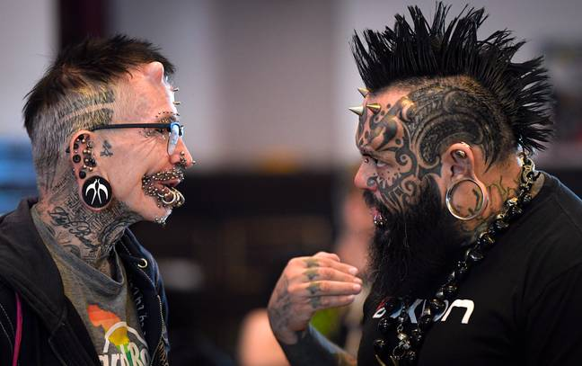 Dermal implants give the impression of 'horns' under his skin. Credit: PA