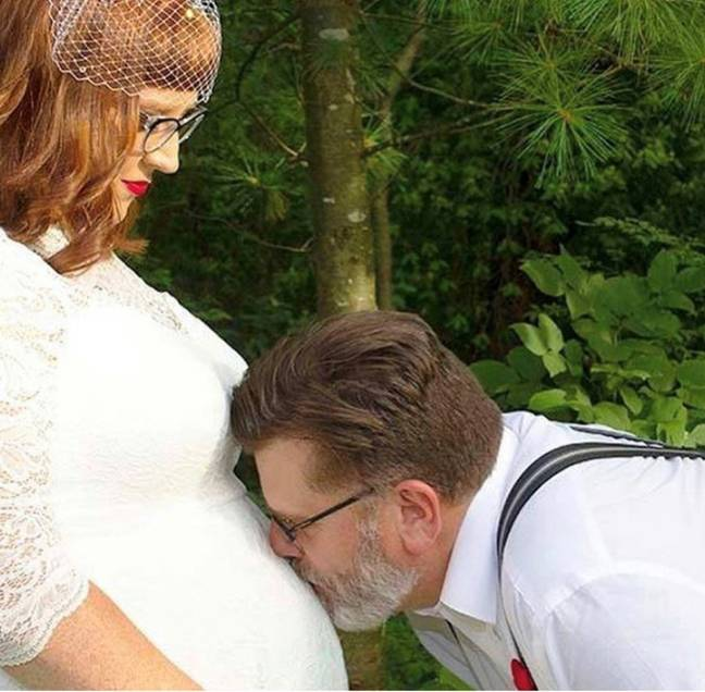 Erica pregnant with Brexlee on her wedding day. Credit: PA