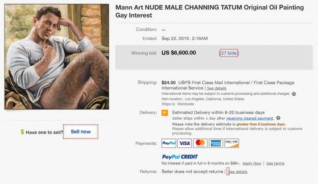 The Channing Tatum painting sold for $6,600 (£5,342)