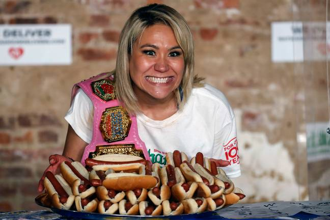 Miki Sudo won the women's title, consuming 48.5 hot dogs in 10 minutes. Credit: PA