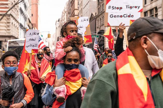 Protesters with Tigray flags and posters staged rally on Washington Square in New York. Credit: PA