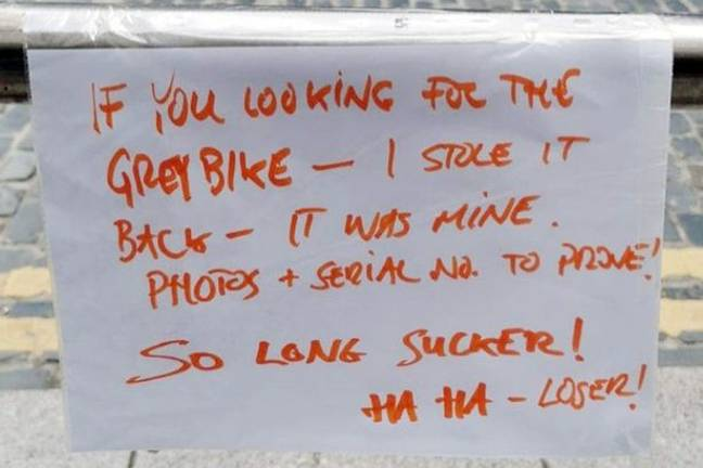 The note was left in place of the bicycle.