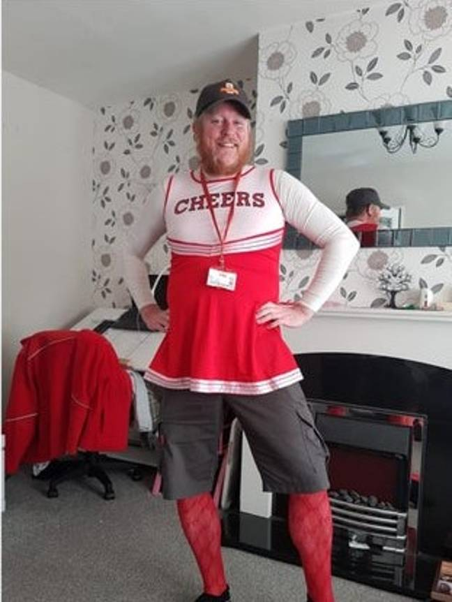 Jon headed out on his post round one day as a cheerleader. Credit: Jon Matson