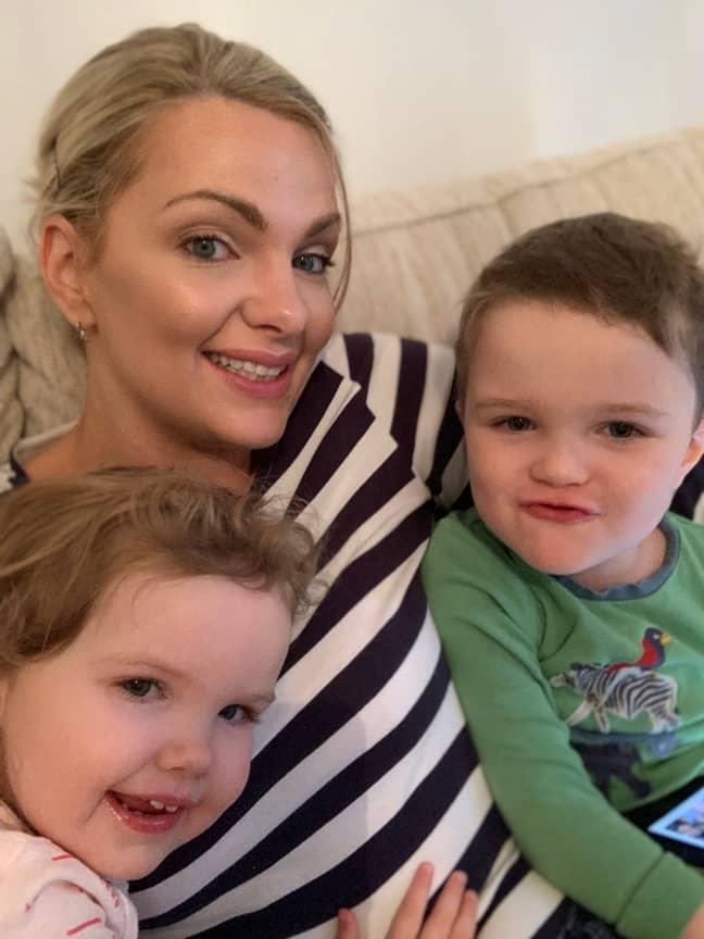 Katie with son Oscar, 4, and Kiki, 2. Credit: LADbible
