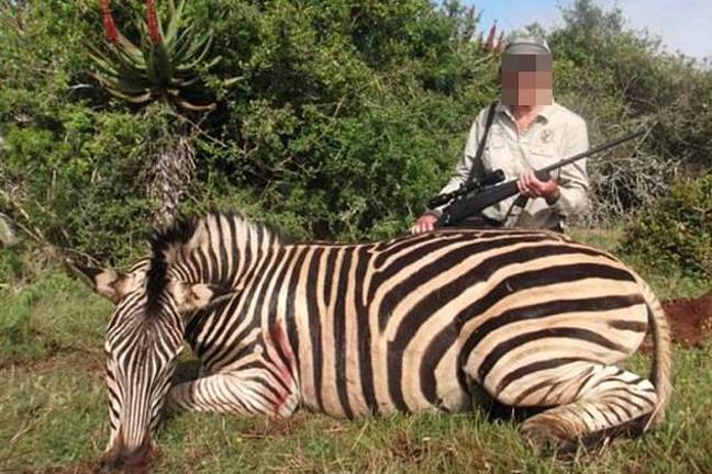 Pictures of British trophy hunters posing alongside dead zebras have been shared on social media. Credit: Facebook
