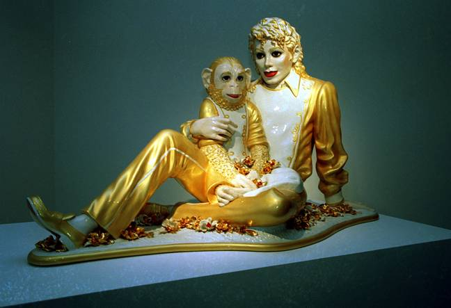 A statue of Jackson and Bubbles that was part of an exhibiton by Jeff Koons. Credit: PA
