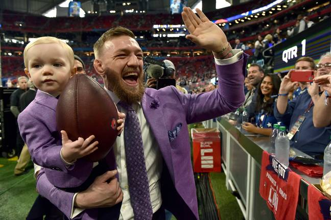 McGregor and his son at the Super Bowl earlier in 2019. Credit: PA
