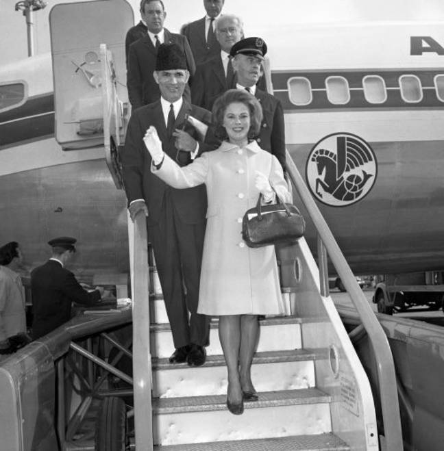 Shirley Temple landing in London, fulfilling her diplomatic duties on a European tour in 1968 (Credit: PA)
