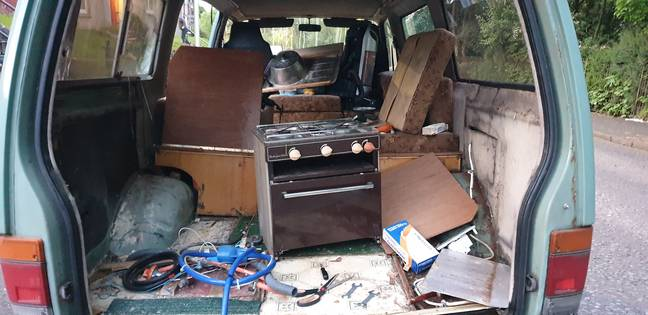 Caitlin is renovating the van herself. Credit: SWNS