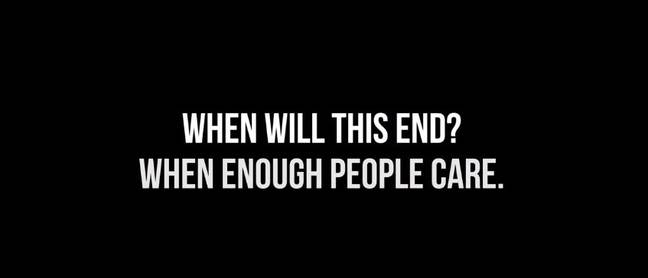 The video goes on to ask 'when will this end?' Credit: YouTube/EminemMusic