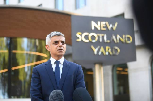Mayor of London Sadiq Khan speaks to media at New Scotland Yard today. Credit: PA