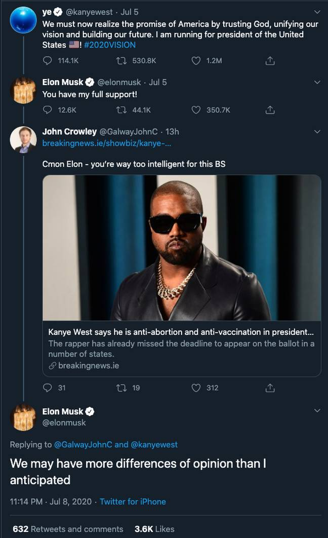 Musk indicated he may have to rethink supporting Kanye. Credit: Twitter