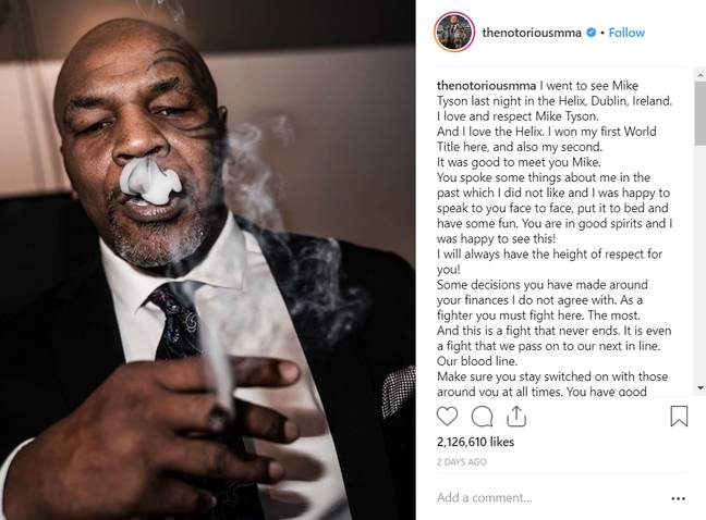 It seems Conor McGregor enjoyed Mike Tyson's cannabis. Credit: Instagram/Conor McGregor