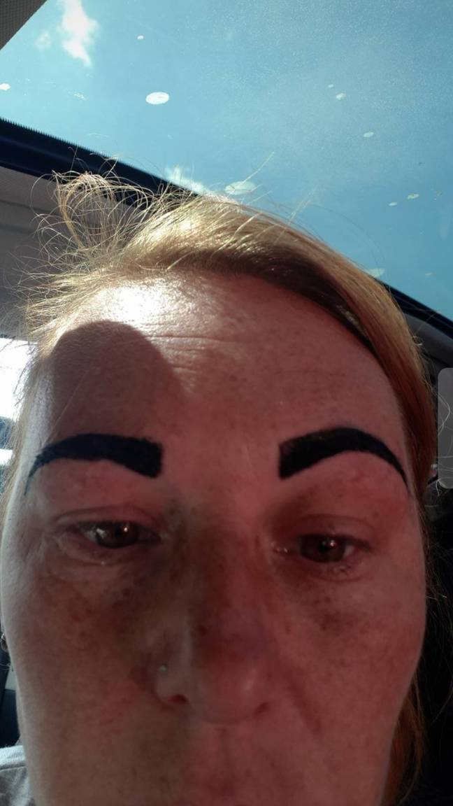What Colline was left with when she got her eyebrows done. Credit: Triangle News