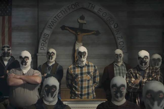White supremacist group 'The Seventh Kavalry'. Credit: HBO