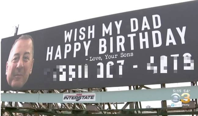 Mr Ferry's sons decided it would be nice if lots of strangers wished their dad a happy birthday. Credit: CBS3