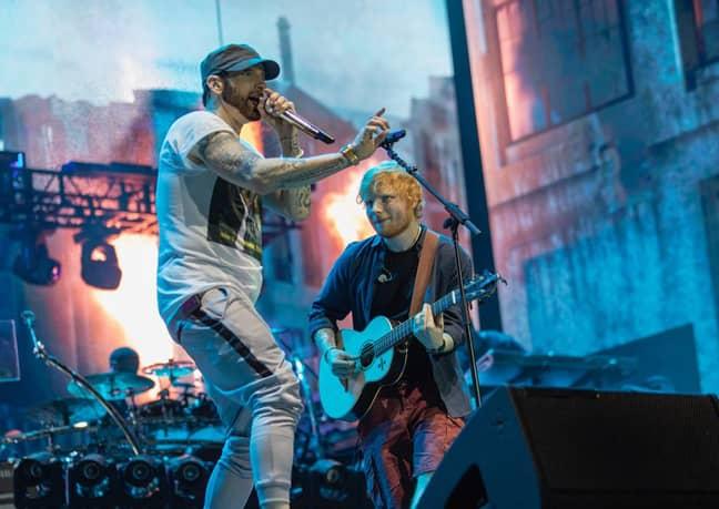 Eminem performing with Ed Sheeran in London in 2018 (Credit: Instagram/eminem)