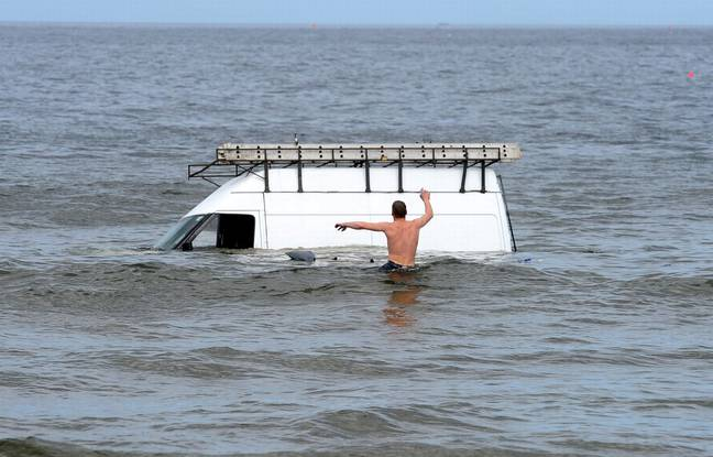The man's van became stuck when the tide came in. Credit: Evening Gazette
