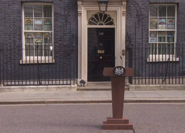 The set up outside Downing Street. Credit: BBC