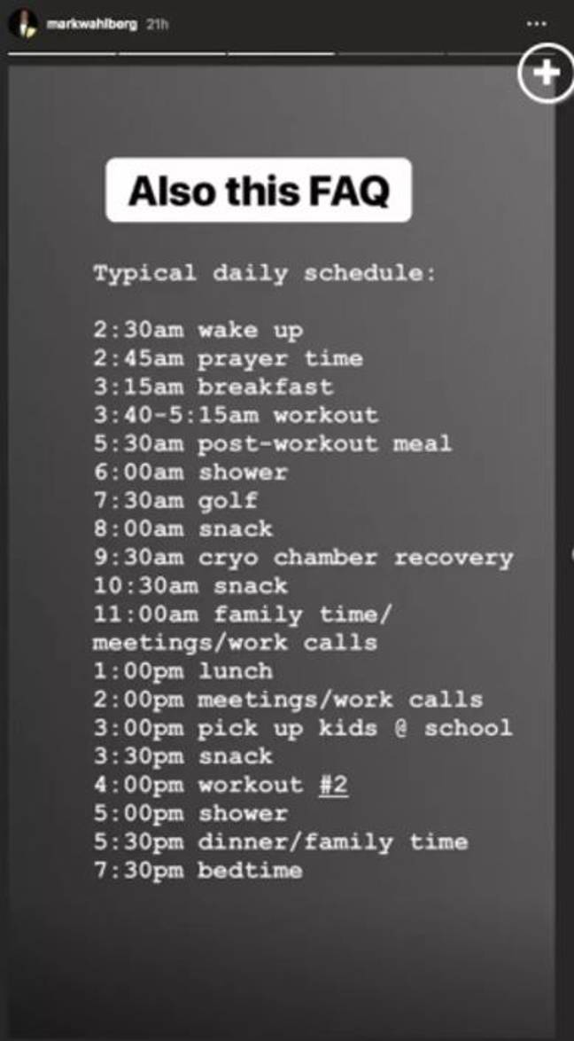 The routine Wahlberg shared in September 2018. Credit: Instagram/markwahlberg