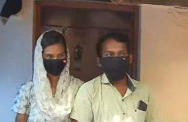 The couple were spotted in another village after running away. Credit: Manorama News