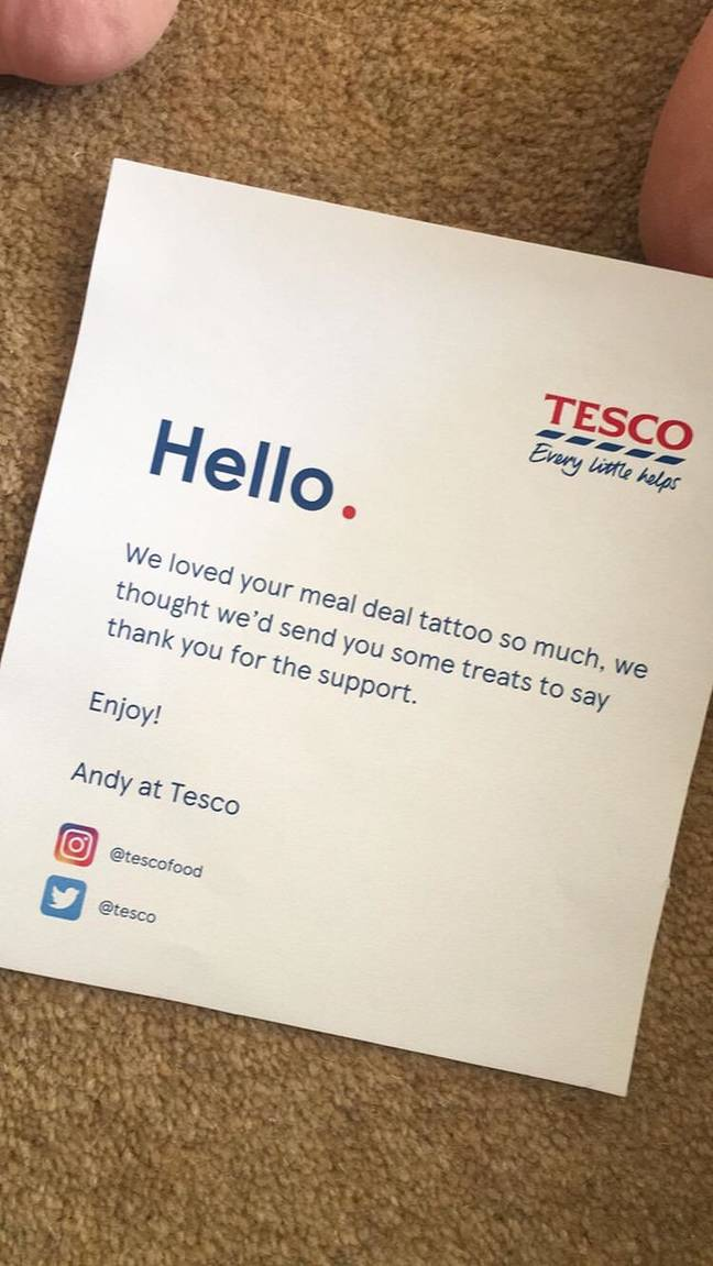 The supermarket's thank you note. Credit: LADbible