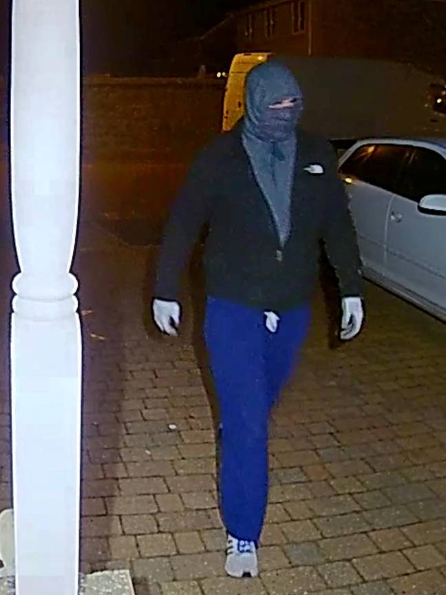 The masked man stole food meant for an elderly man who is isolation due to coronavirus. Credit: SWNS