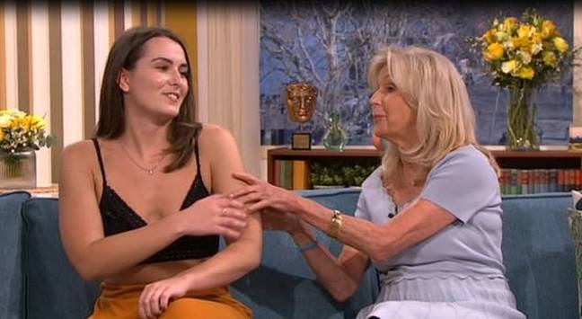 Liz got a little bit handsy with Emily, which didn't seem to go down too well. Credit: ITV/This Morning