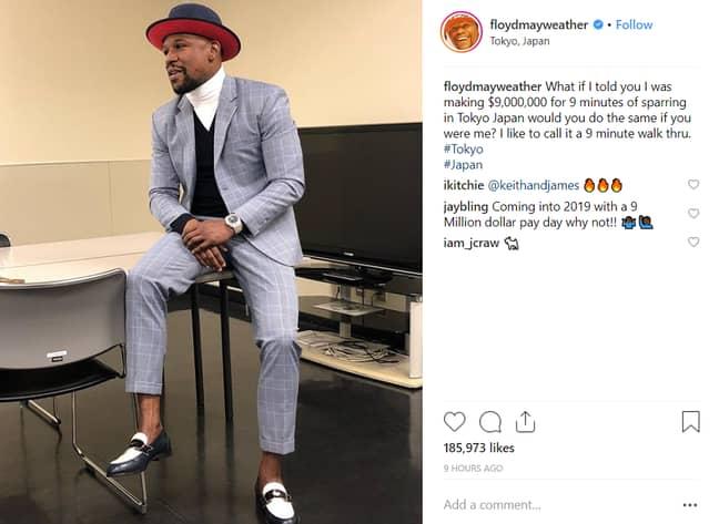 Floyd Mayweather's Insta-brag ahead of the big fight. Credit: Instagram