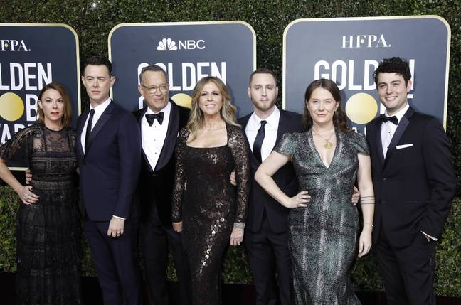 Samantha Bryant, Colin Hanks, Rita Wilson, Tom Hanks, Elizabeth Ann Hanks, Chet Hanks and Truman Theodore Hanks at the Golden Globes. Credit: PA